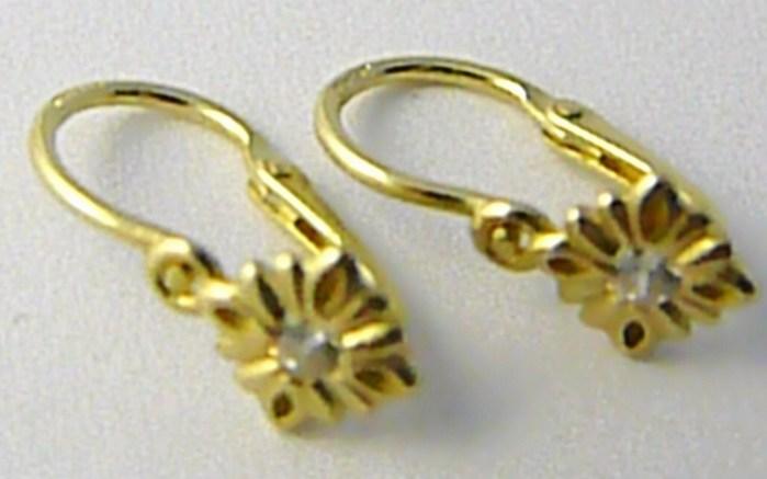 Dětské zlaté náušnice s čirými zirkony ze žlutého zlata 585/0,85gr P541