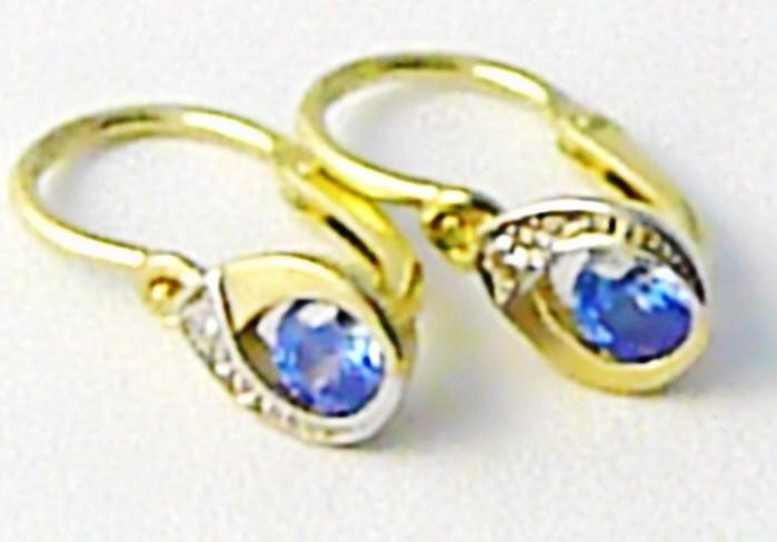 Dětské zlaté náušnice s modrými akvamaríny ze žlutého zlata 585/0,87gr P542