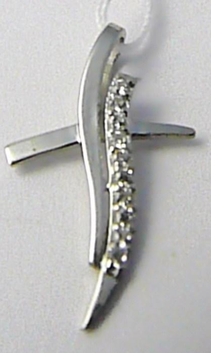 Velký zlatý křížek z bílého zlata posetý zirkony 585/0,89 gr H608