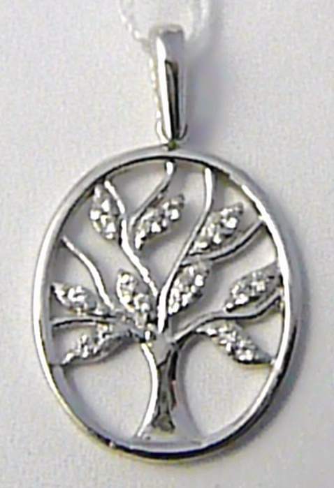 Zlatý přívěsek - strom života v bílém zlatě osetý zirkony 585/1,35 gr H609