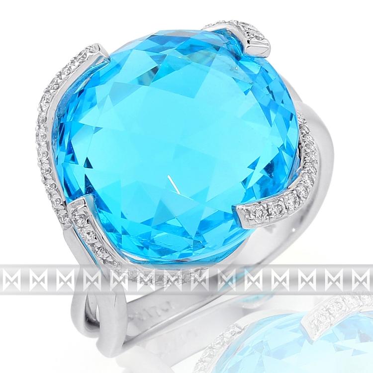 Luxusní prsten s diamantem, bílé zlato briliant, modrý topaz (blue topaz) 386