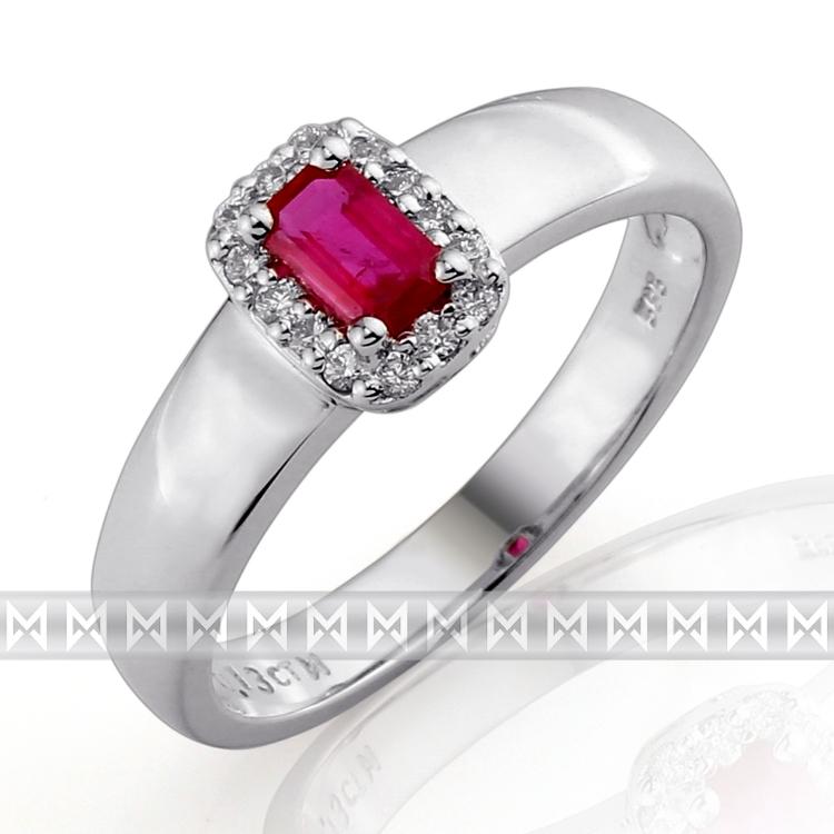 Luxusní zásnubní prsten s diamantem, bílé zlato briliant, přírodní rubín 386032