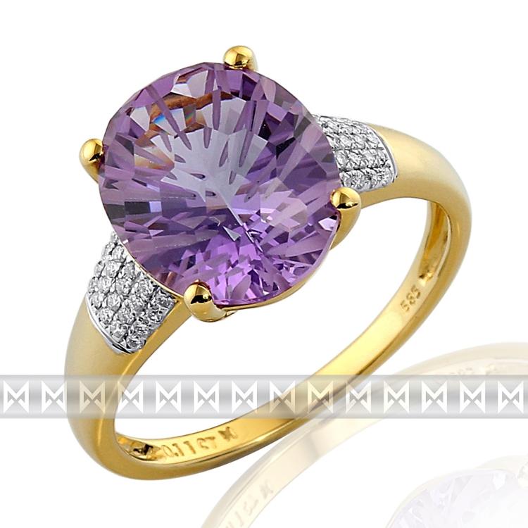 Prsten s diamantem, žluté zlato briliant, ametyst fialový v kombinaci bílé zlato