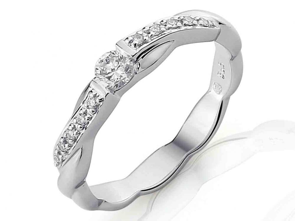 Luxusní zlatý diamantový zásnubní prsten s diamantem, bílé zlato brilianty (3860417)