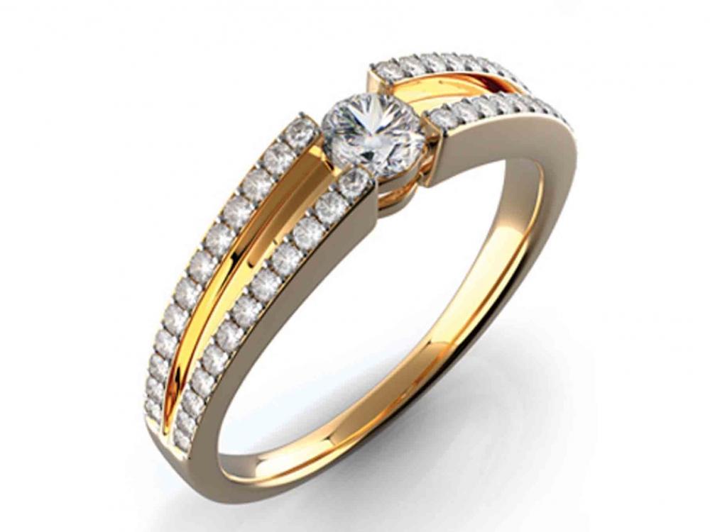 Zásnubní diamantový prsten s diamanty GEMS diamonds, žluté zlato 3810427