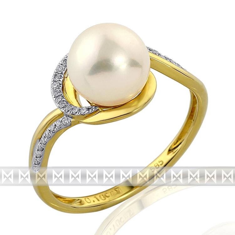 Zásnubní diamantový prsten s bílou perlou GEMS diamonds, žluté zlato 3810943