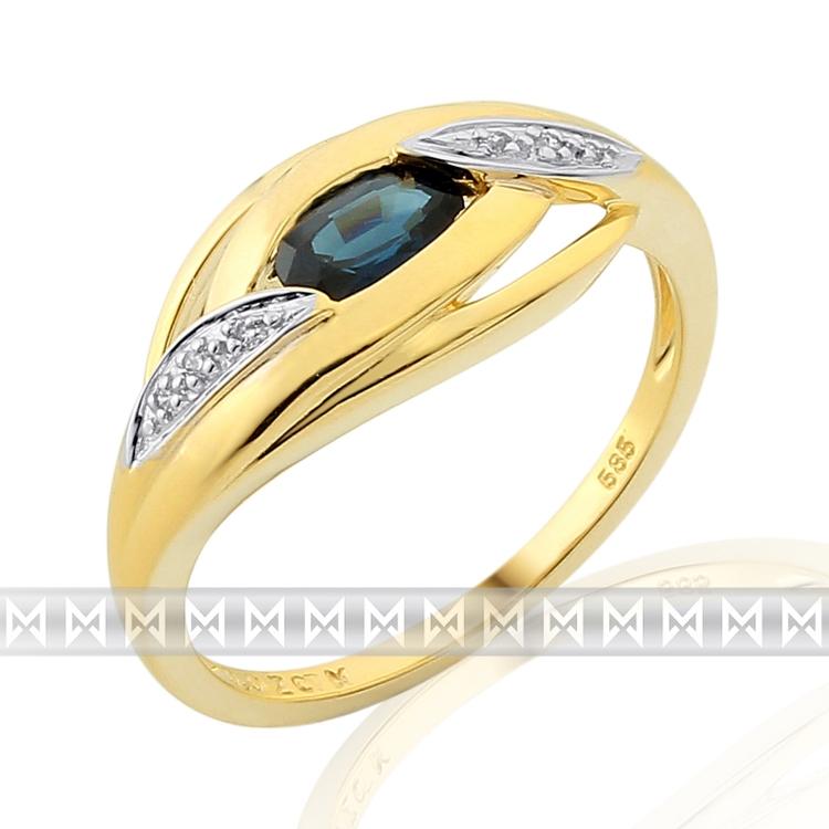 Prsten s diamantem, žluté zlato briliant, safír v kombinaci bílé zlato, v prove (3811918)