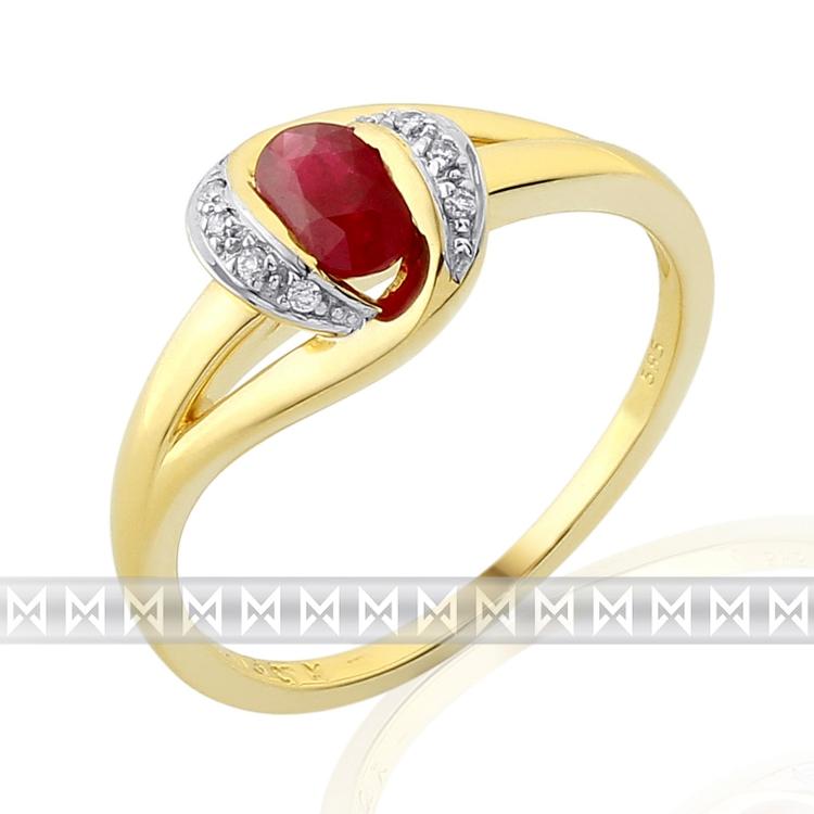 Zásnubní prsten s diamantem, žluté zlato briliant, rubín v kombinaci bílé zlato