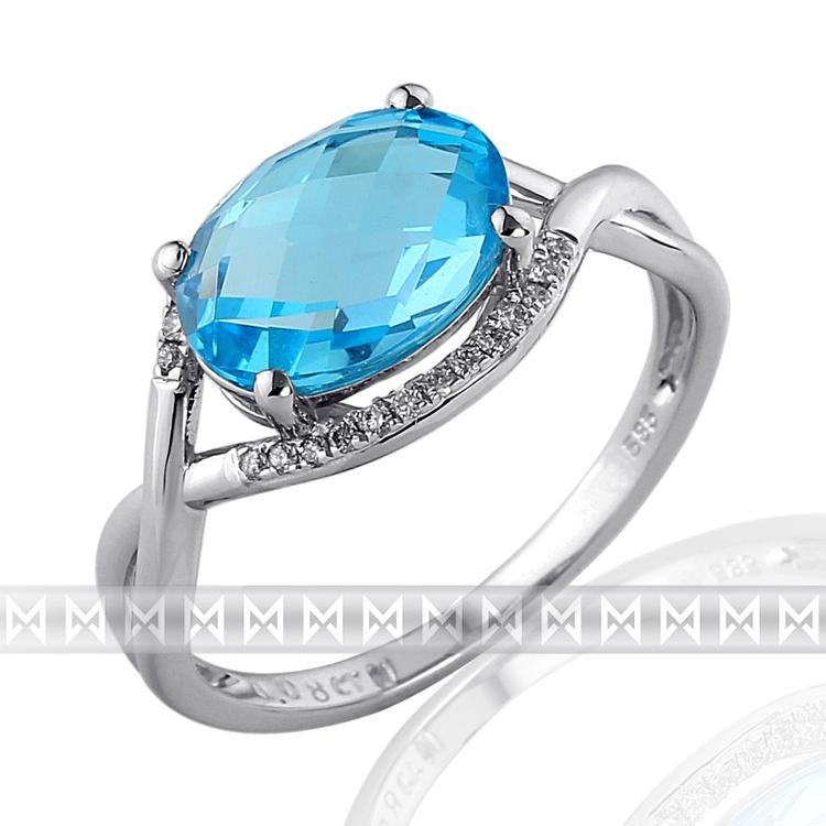 Luxusní prsten s diamantem, bílé zlato briliant, moh. modrý topaz (blue topaz)