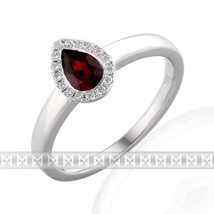 Prsten s diamantem, bílé zlato briliant, granát 3861709