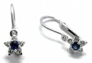 Dětské náušnice s přírodními diamanty a modrými safíry 585/1,46 gr J-21312-12