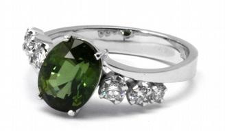 Luxusní diamantový zásnubní prsten s diamanty a turmalínem 585/3,52gr J-20567-11