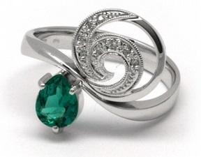 Luxusní zlatý rsten se smaragdem (0,451ct) a diamanty 585/3,72 gr J-20251-11