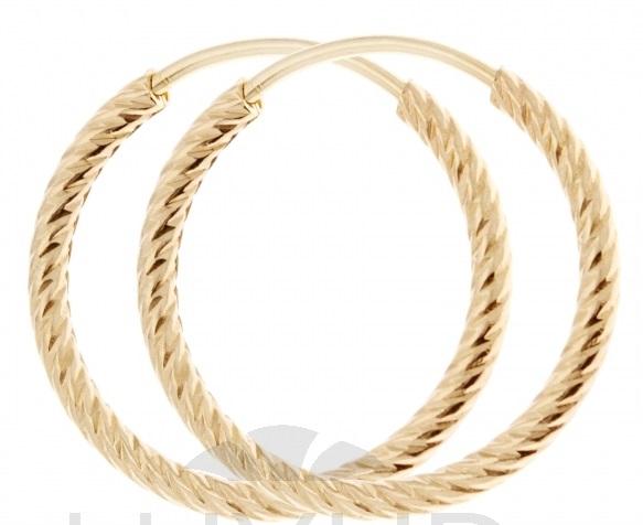 Zlaté náušnice - zlaté velké kruhy s gravírováním průměr 18mm 1431257
