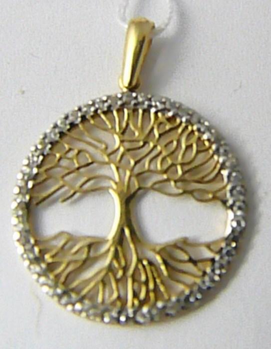 Zlatý přívěsek ve žlutém zlatě posetý zirkony - strom života 585/1,45gr H623