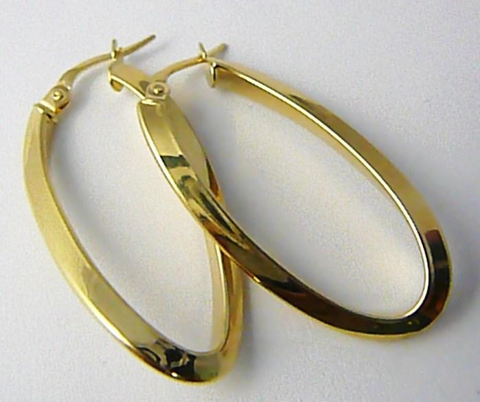 Dámské velké mohutné zlaté kruhy (ovály) lesklé 4cm 585/2,52gr H626