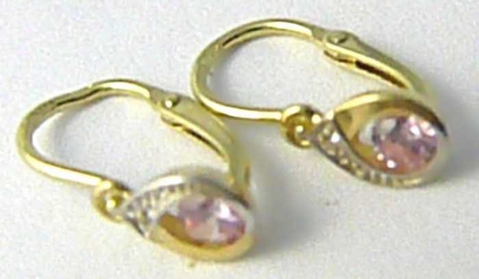 Dětské zlaté náušnice s růženíny žlutého zlata 585/0,87gr P575