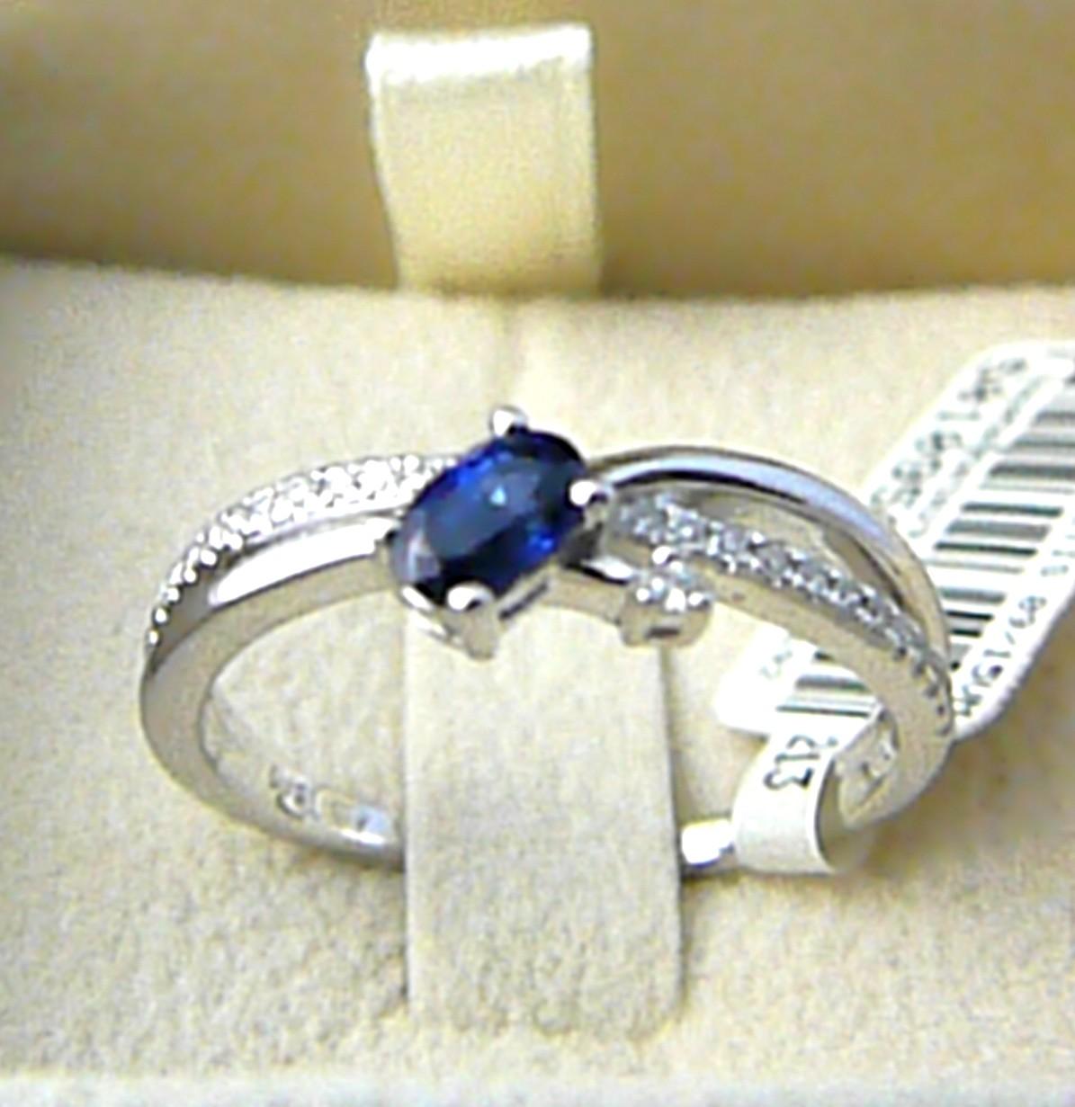 Diamantový zásnubní prsten s velkým modrým safírem 585/3,0g vel. 56 P582 SKLADEM