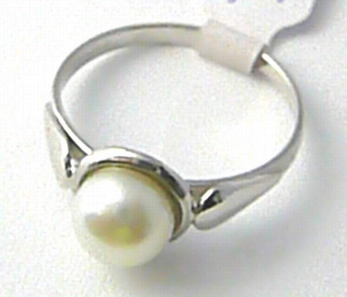 Dámský mohutný velký zlatý prsten s velkou bílou perlou 585/1,6 gr vel. 55 S115
