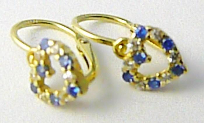Dětské zlaté náušnice se zirkony a modrými topazy 585/1,02gr P601