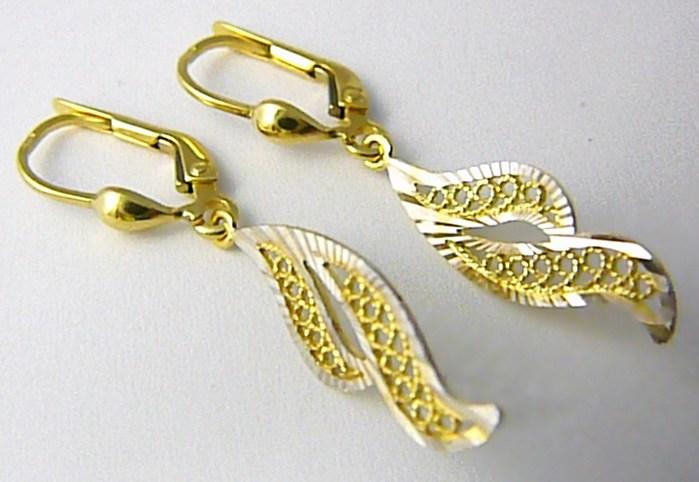 Visací zlaté náušnice z bílého a žlutého zlata s gravírováním 585/2,10gr P606 (1430927)