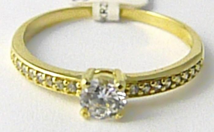 Zásnubní zlatý prsten posetý mnoha zirkony 585/1,60 gr vel. 54 P625 (3510220)