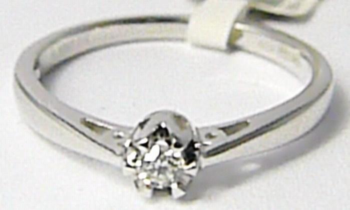Zásnubní diamantový prsten z bílého zlata 0,07ct vel.54 P634 SKLADEM!!!