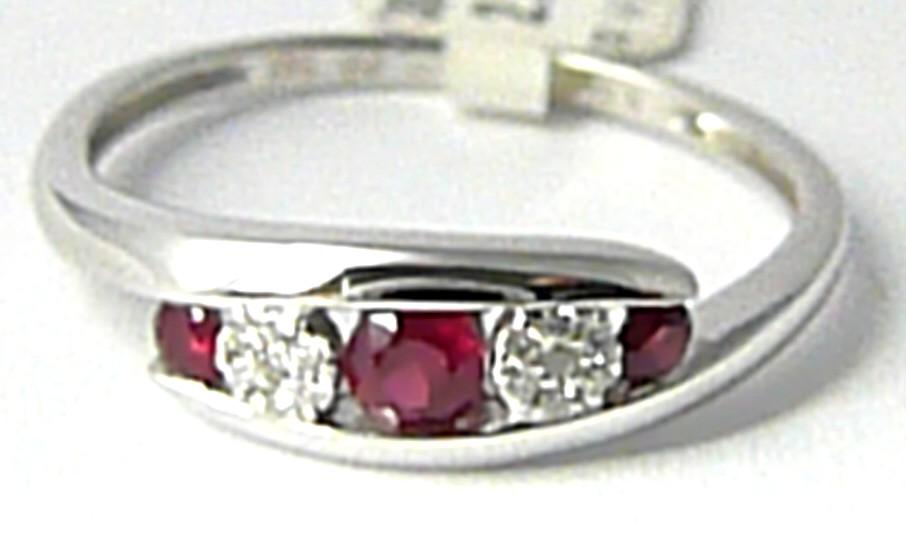 Diamantový zlatý prsten z bílého AU s pravými rubíny 3x0,29ct 585/2,3gr 3861968