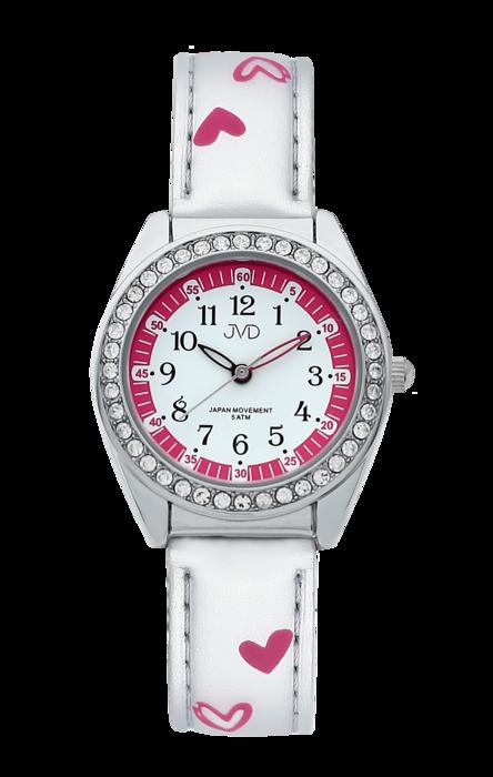 Dětské dívčí hodinky JVD basic J7117.4 se zirkony a srdíčky