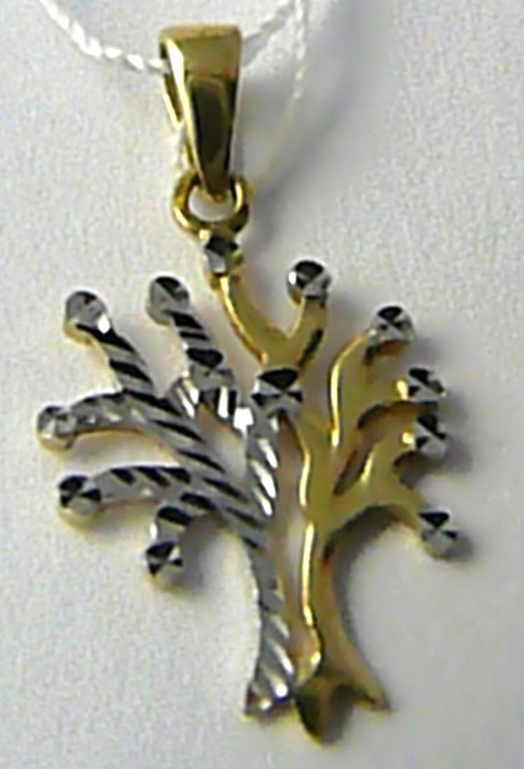 Zlatý přívěsek s gravírováním bílé a žluté zlato strom života 585/0,88gr H635