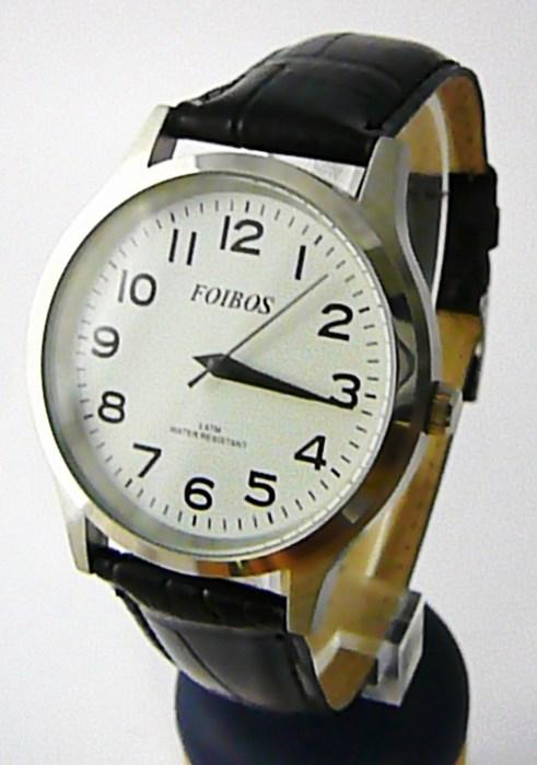 Pánské elegantní stříbrné čitelné velké hodinky Foibos 3882.3 3ATM