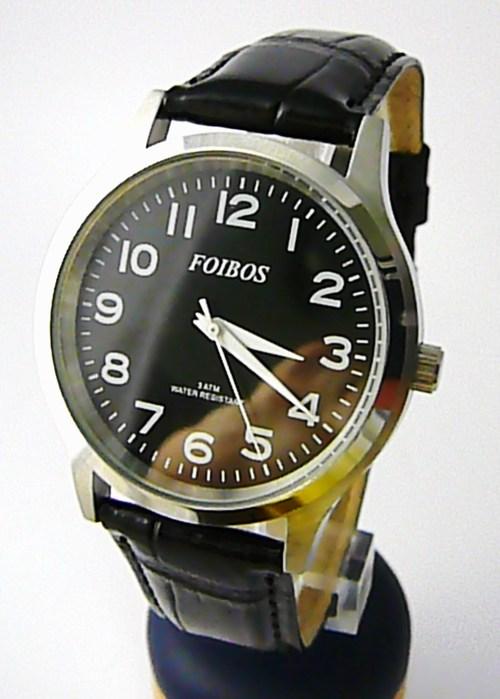 Pánské elegantní stříbrné čitelné velké hodinky Foibos 3882.4 3ATM