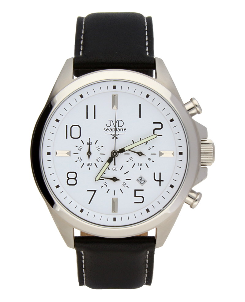 Pánské potápěčské ocelové hodinky JVD Seaplane JS01 - chronograf na kůži (POŠTOVNÉ ZDARMA!!)