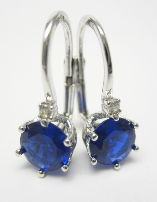 Dámské náušnice z bílého zlata se zirkony a modrým safírem 585/2,00gr P687