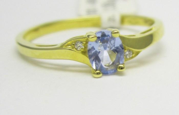 Luxusní zlatý prsten s modrým akvamarínem 585/1,55 gr vel. 55 P720
