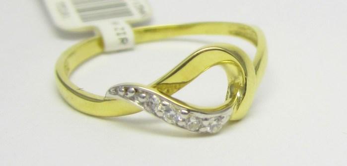 Luxusní zlatý prsten se zirkony 585/1,02 gr vel. 52 P722