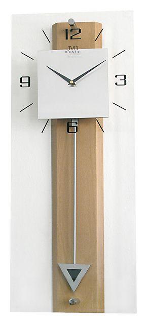 Dřevěné skleněné kyvadlové velké nástěnné hodiny JVD quartz N2233.68