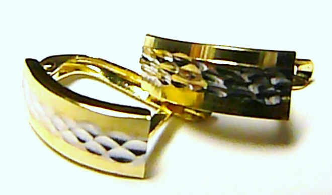 Mohutné dámské zlaté náušnice z bílého a žlutého AU 585/1,21g P084 (2130344)