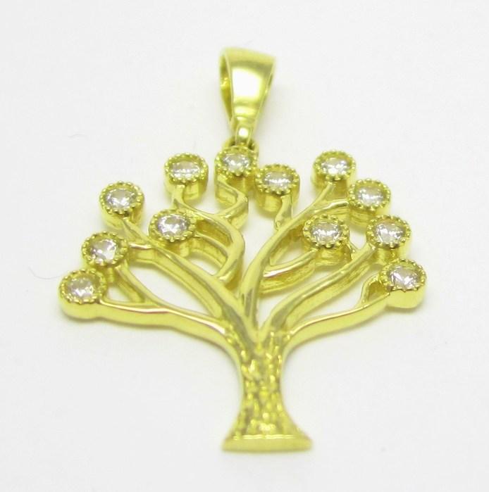 Zlatý přívěsek ve žlutém zlatě se zirkony - strom života 585/1,41 gr H645