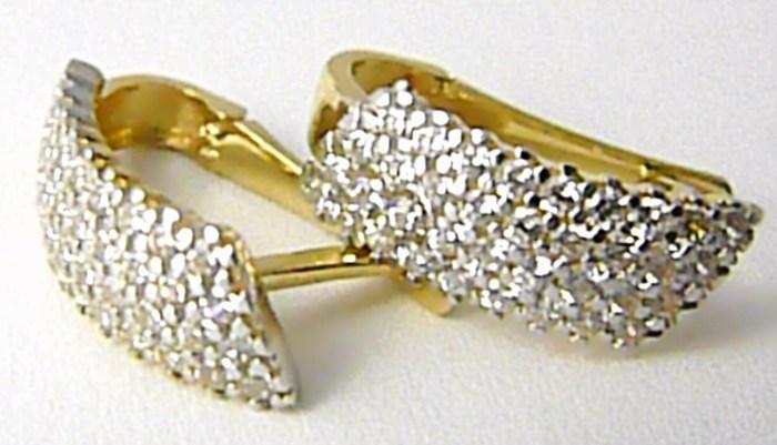 Mohutné dámské zlaté náušnice poseté zirkony 585 3 8ff92654ccd