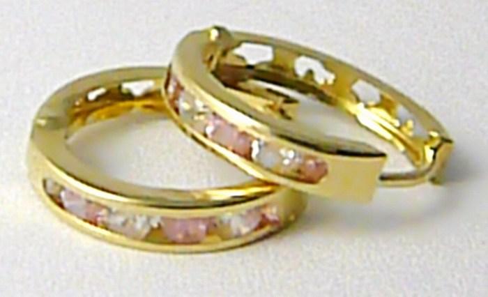 Dámské zlaté kroužky se zirkony a růženíny 14mm 585/0,94gr H669