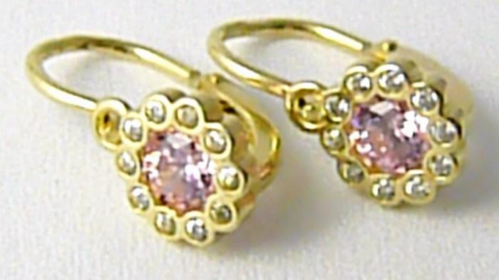 Dětské zlaté náušnice ze žlutého zlata se zirkony a růženíny 585/1,15gr H671