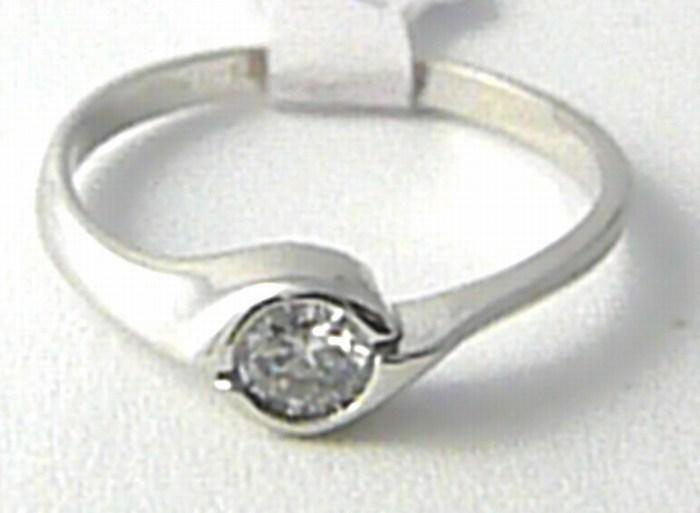 Zásnubní zlatý prstýnek z bílého zlata se zirkonem 585/1,81gr vel. 54 H675 ( )