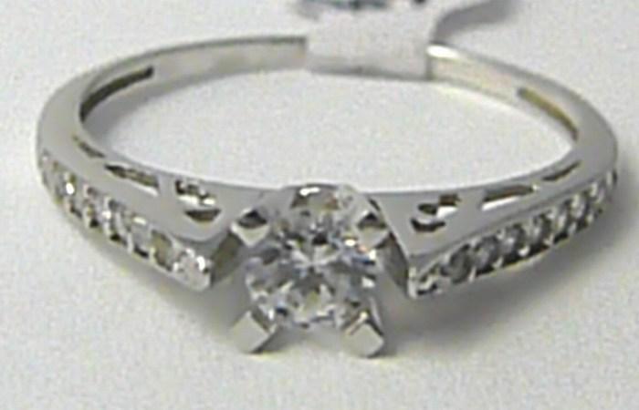 Mohutný zlatý zásnubní prsten z bílého zlata 585/1,75gr vel. 57 H676 (POŠTOVNÉ ZDARMA!!!!)