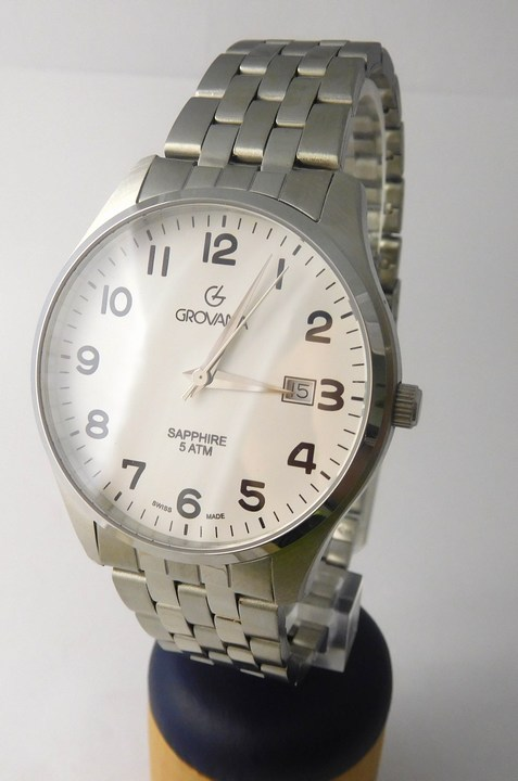 Luxusní pánské švýcarské hodinky Grovana 1568.1133 se safírovým sklem 5ATM (1568.1133)