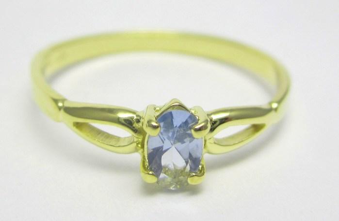 Elegantní zlatý prsten s modrým akvamarínem (i zásnubní) vel.50 1,15gr Z136