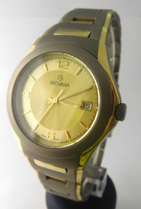 Pánské švýcarské celotitanové hodinky Grovana 1520.1291 se zlacením (1520.1291)