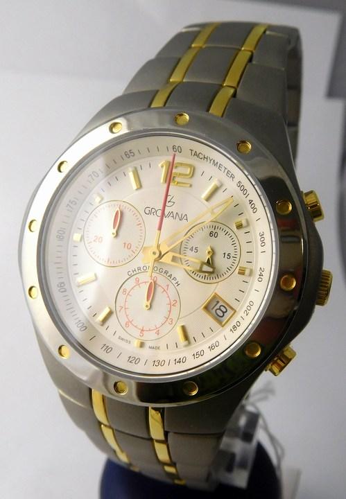 Pánské švýcarské celotitanové hodinky Grovana 1532.9122 se zlacením - chronograf (1532.9122)