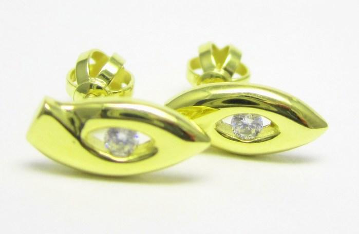 Zlaté dámské náušnice na šroubek se zirkony 585/1,55 gr Z150