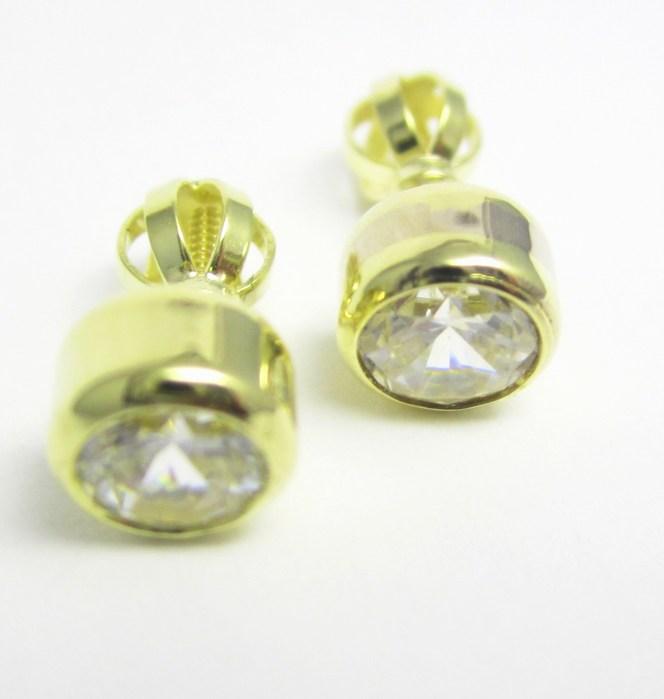 Zlaté dámské náušnice na šroubek se zirkony 585/1,85 gr Z151